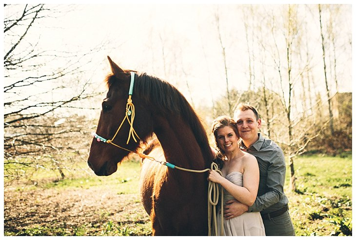 Styled Engagement Shoot Romantic with horse