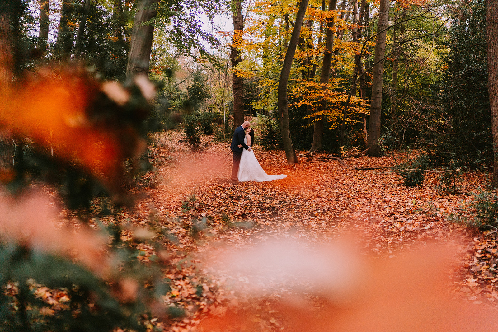 Autumn wedding in the woods