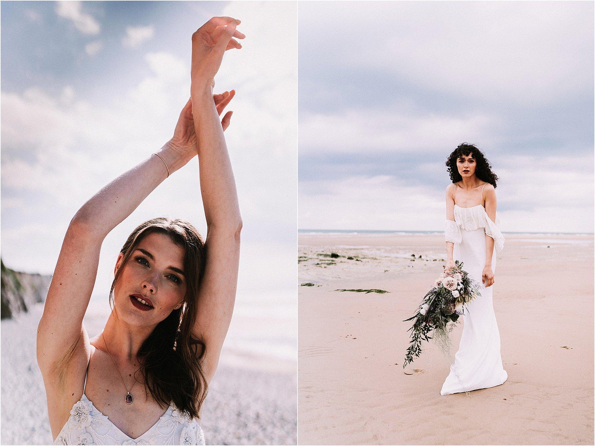 bridal shoot at beach