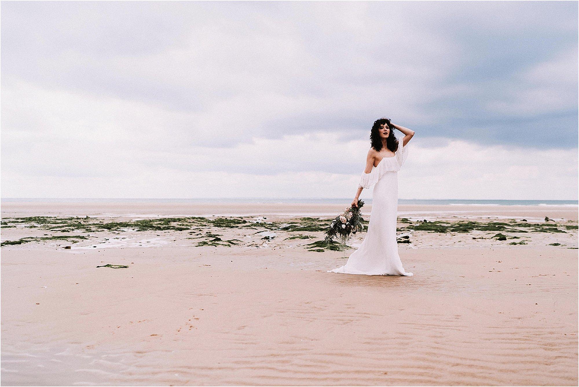 bridal shoot at the beach